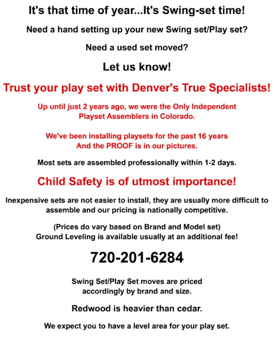 Denverfixit Com Swing Set Play Set Installations Assemblies And